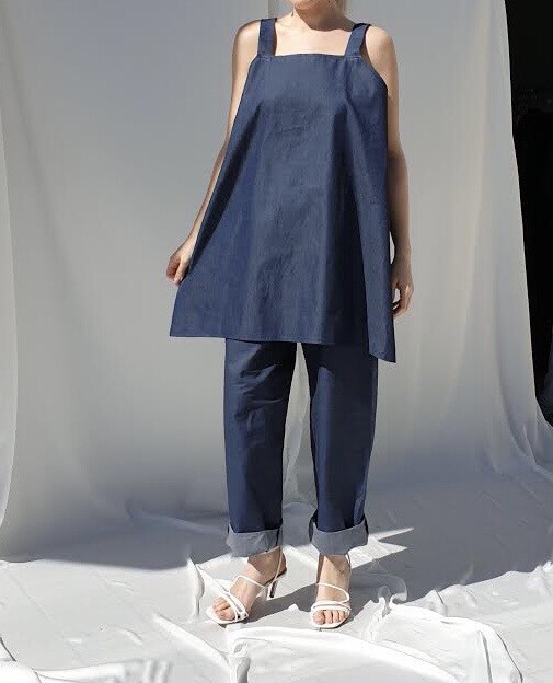 Pantalone morbido - Blu denim