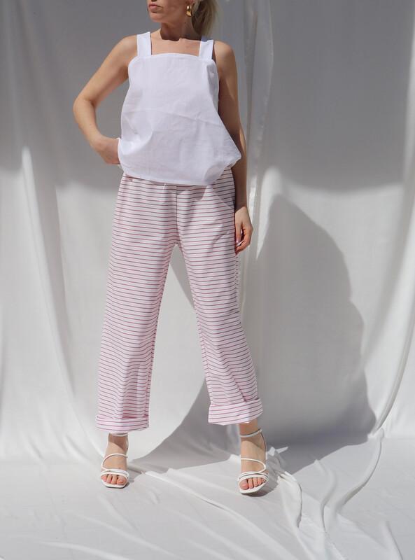 Pantalone morbido - Bianco Righe