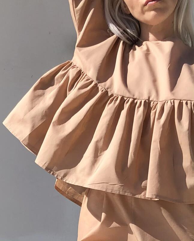 Blusa arricciata - Cotone color Nude