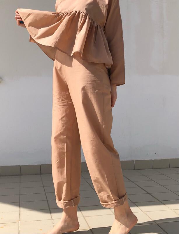 Pantalone morbido - Cotone color Nude