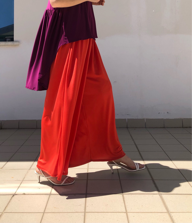 Pantalone a palazzo - arancio