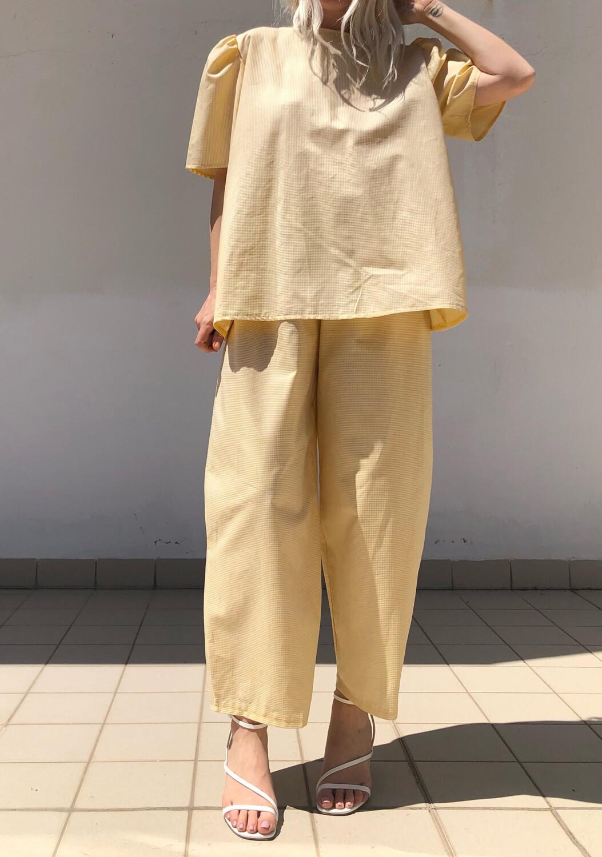 Maxi blusa con manica a sbuffo - giallo a micro quadretti