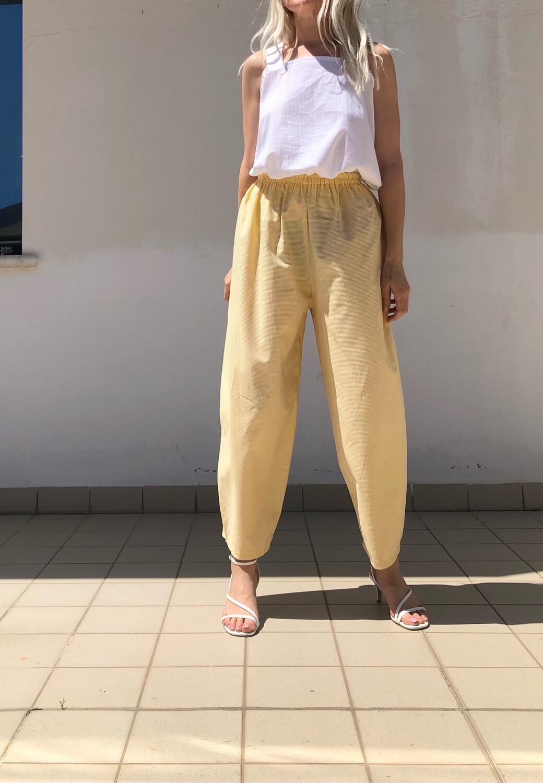 Pantalone morbido - giallo a micro quadretti