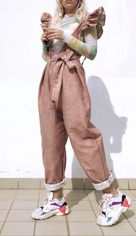 Salopette con rouches - denim rosa antico