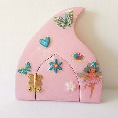 Butterfly and Hearts Wooden Fairy Door