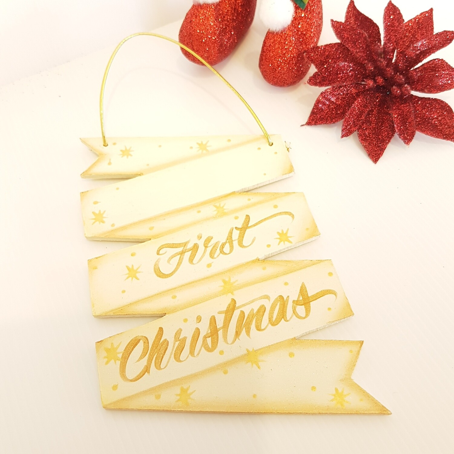 First Christmas Wooden Ornament Gold