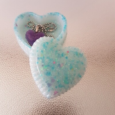 Jewellery Box Heart- Blue Ice