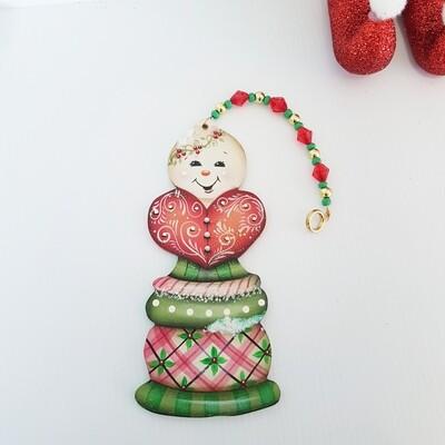 Merry Christmas Heart Snowman Ornament