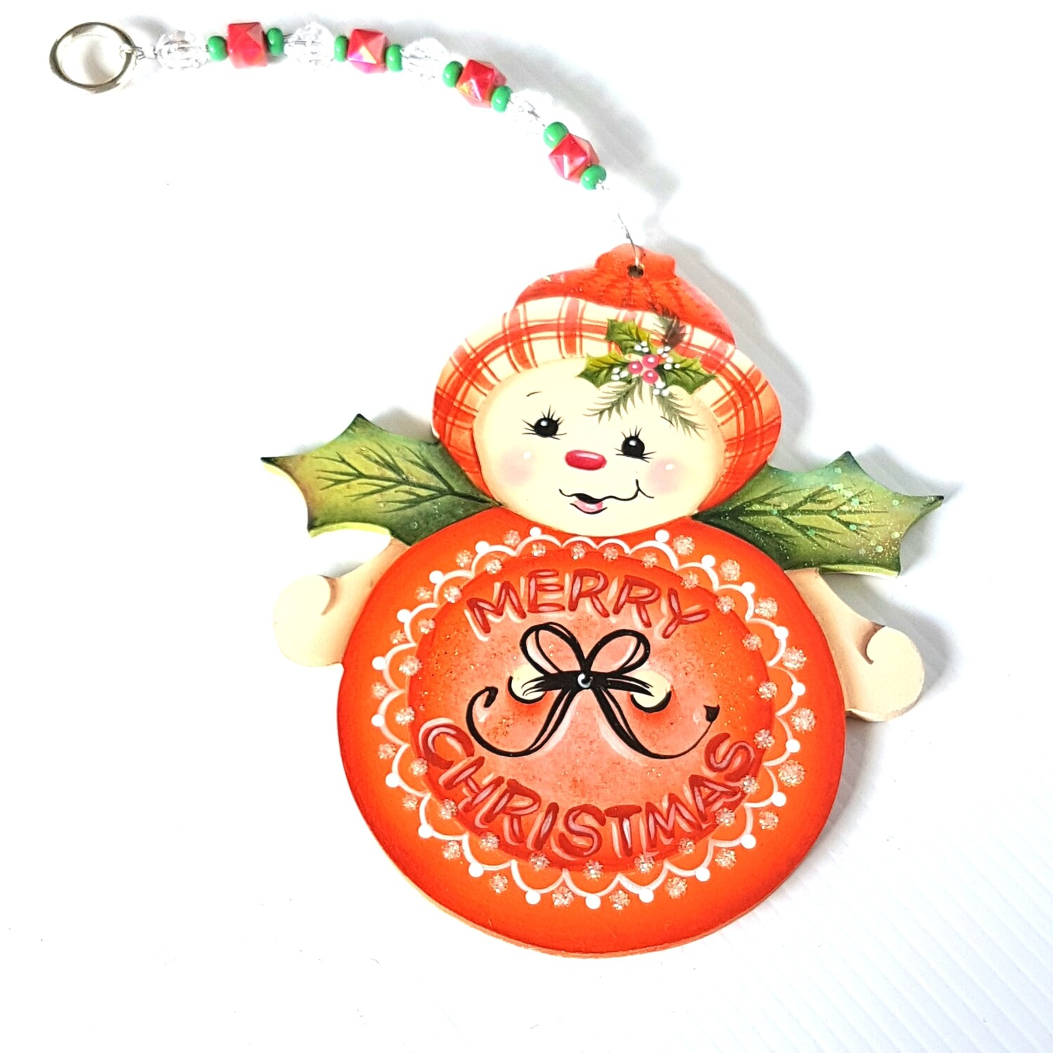 Merry Christmas Snowman Ornament Blue