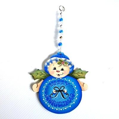 Merry Christmas Snowman Ornament Blue