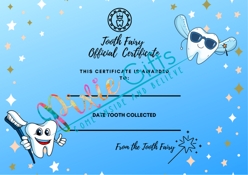 Tooth Fairy Official Certificate