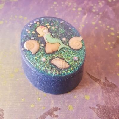 Mermaid Jewellery Box - Blue Oval