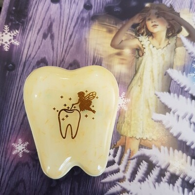 Marshmallow Yellow Gold Foil Tooth Fairy Box