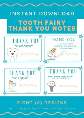 Mini Tooth Fairy Thank you letters, printable instant download, Set of 8 different designs