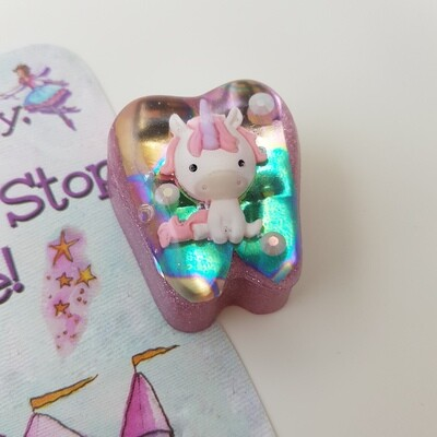 Pink Holographic Unicorn Tooth Fairy Box