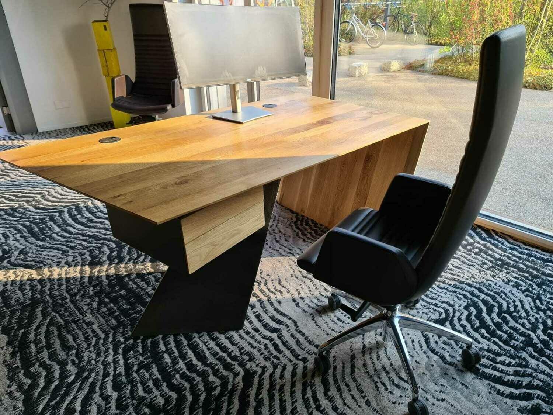 Design modern Bürotisch, Chef-tisch, Schreibtisch aus Massivholz GREY