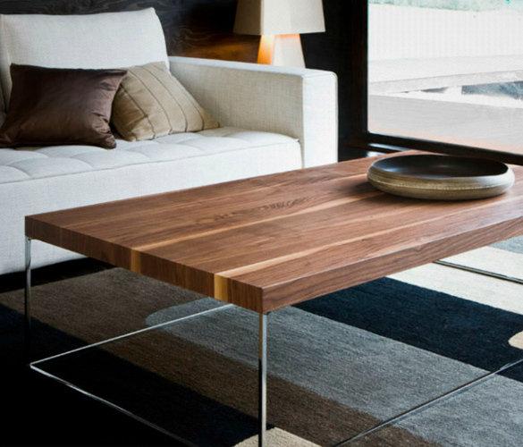Modern minimalistisch Couchtisch Chrome Stahl Massiveholz SUNNY