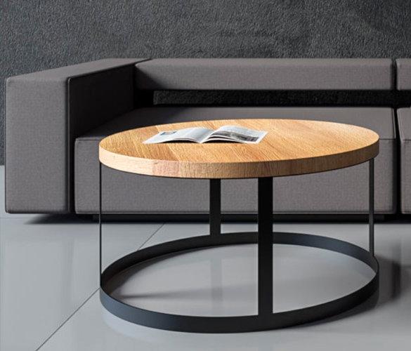 Modern rund Couchtisch Stahl Massiveholz RUDY