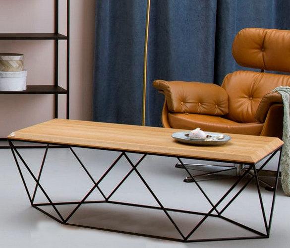 Modern minimalistisch Couchtisch Stahl Massiveholz LISA