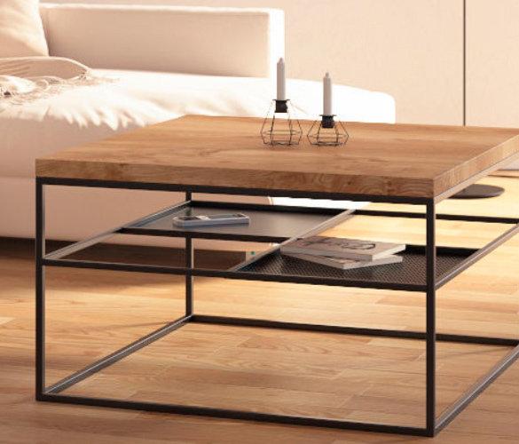Modern minimalistisch Couchtisch Stahl Massiveholz LUNAR