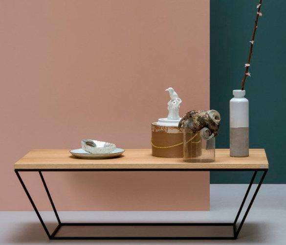 Modern minimalistisch Couchtisch Stahl Massiveholz JUNE