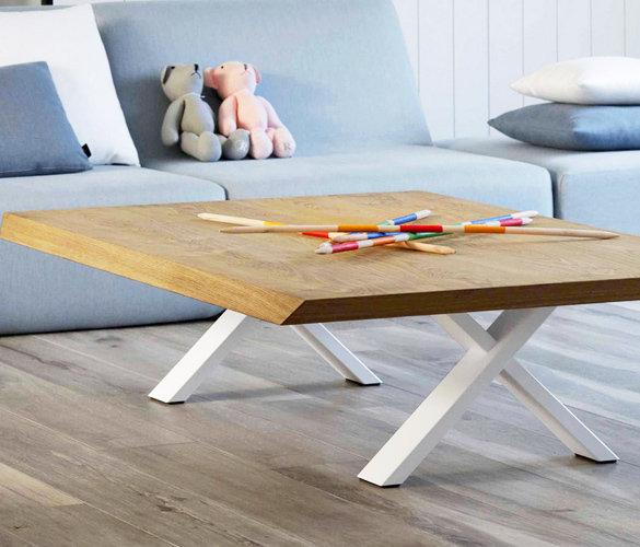 Modern minimalistisch Couchtisch Stahl Massiveholz TWINY
