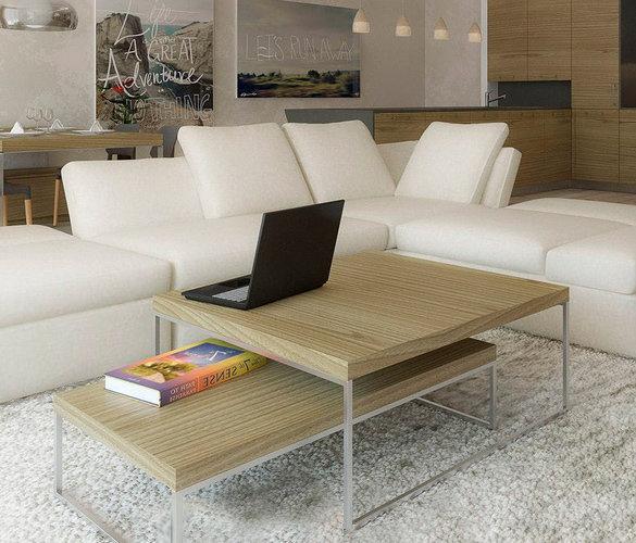 Modern minimalistisch Couchtisch Chrome Stahl Massiveholz TORO