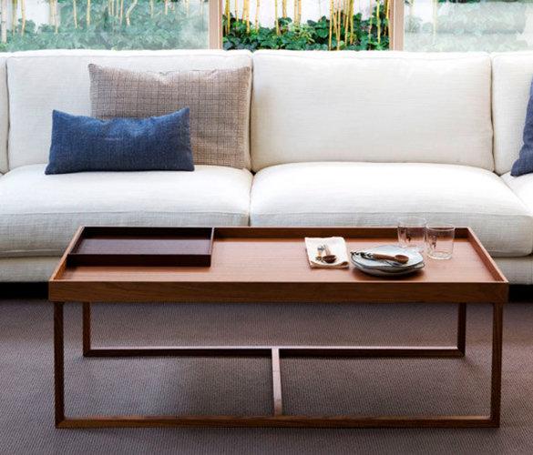 Modern minimalistisch Couchtisch Stahl Massiveholz TANGO