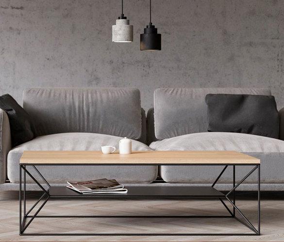 Modern minimalistisch Couchtisch Stahl Massiveholz MAXIM