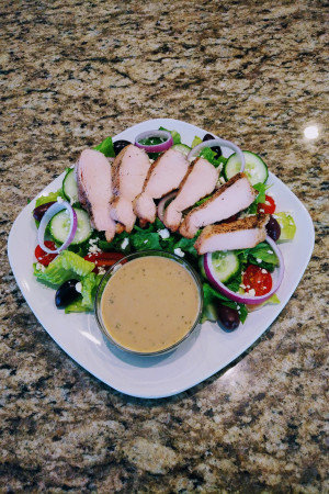 Classic Greek Salad with Organic Chicken