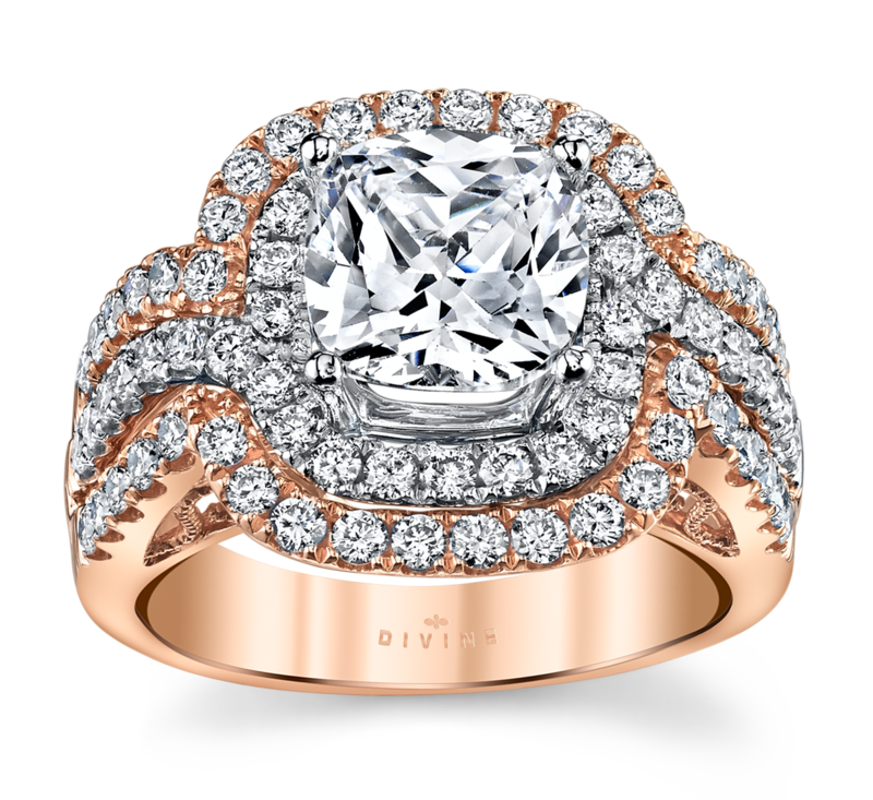 14K Rose And White Gold Diamond Engagement Ring Setting 1 Cttw.