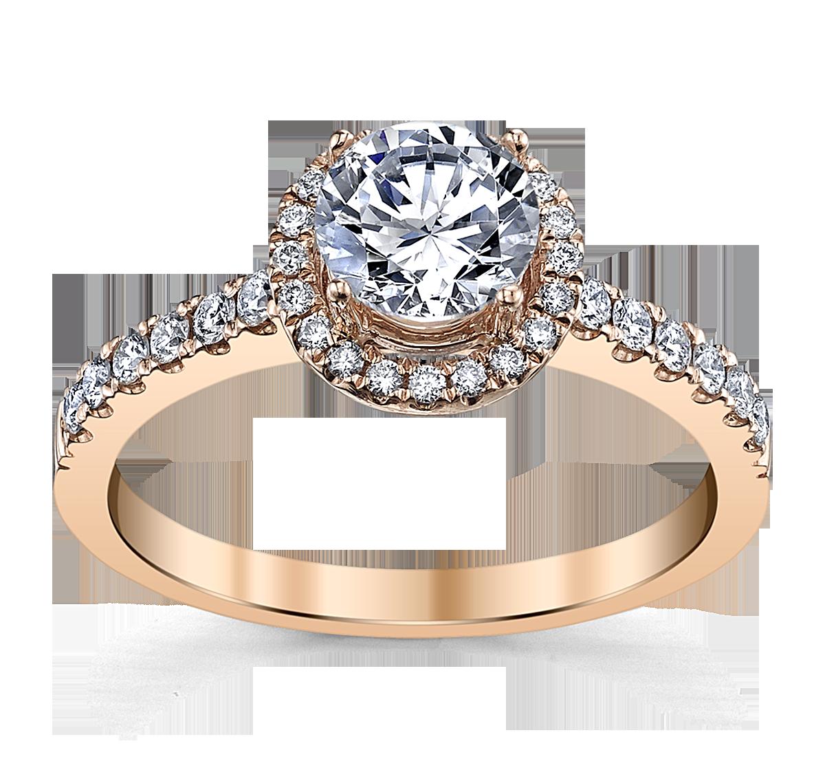 14K Rose Gold Diamond Engagement Ring Setting