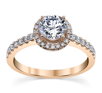 14K Rose Gold Diamond Engagement Ring Setting