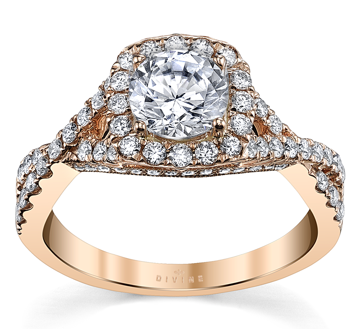 14K Rose Gold Diamond Engagement Ring Setting 1/2 Cttw.