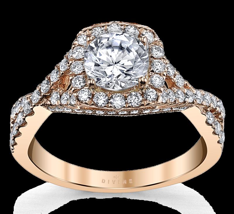 14K Rose Gold Diamond Engagement Ring Setting 1/2 Cttw.