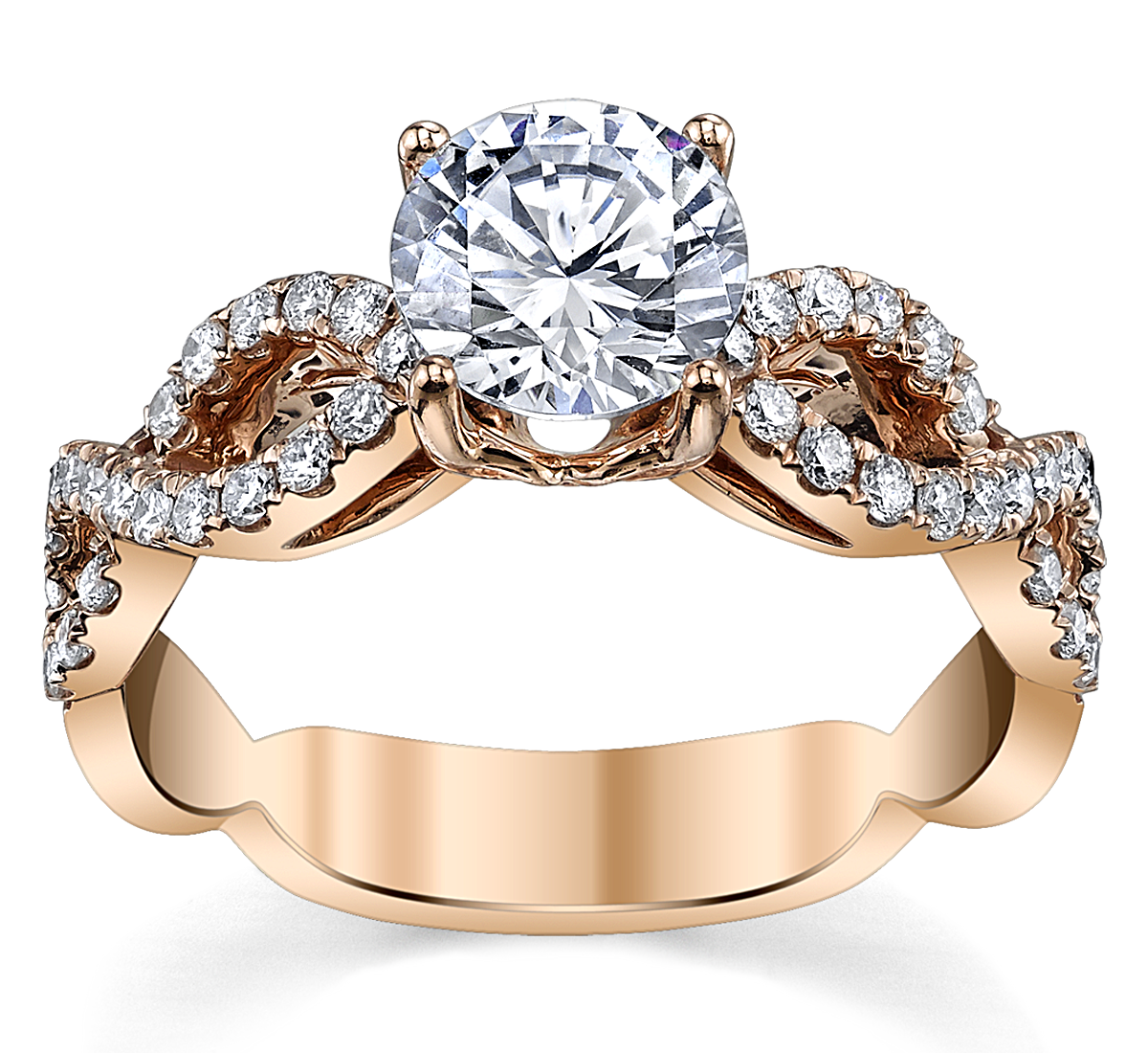 14K Rose Gold Diamond Engagement Ring Setting 1/3 Cttw.