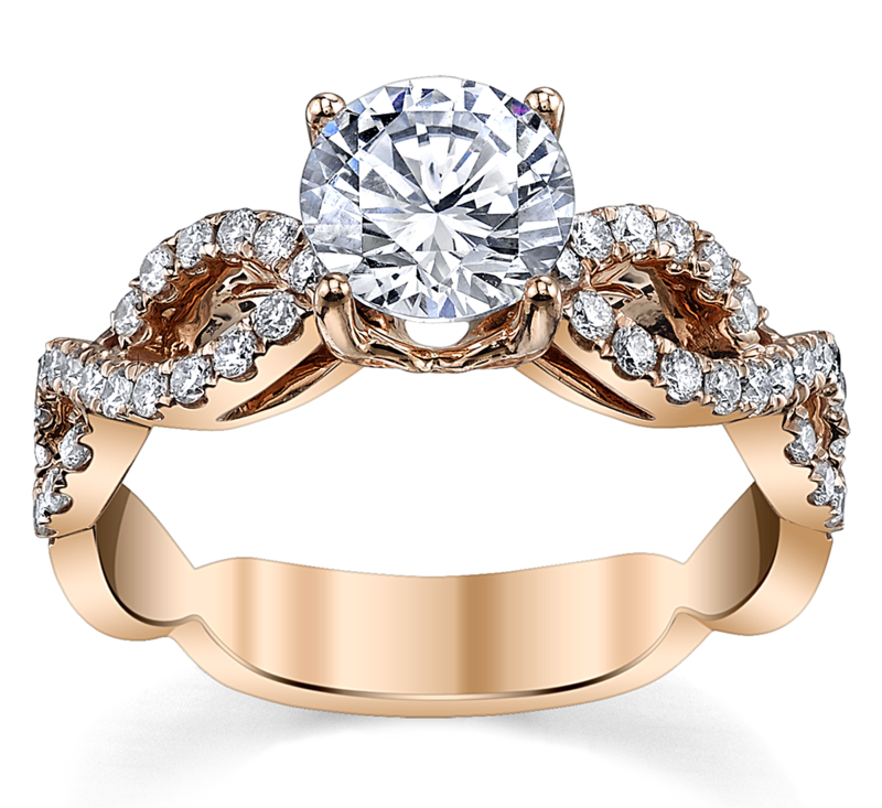 14K Rose Gold Diamond Engagement Ring Setting 1/3 Cttw.