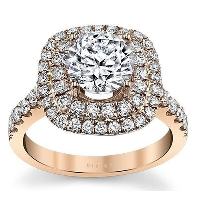 14K Rose Gold Diamond Engagement Ring Setting 1 Cttw.