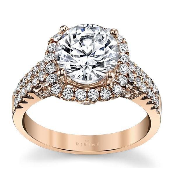 14K Rose Gold Diamond Halo Engagement Ring Setting 5/8 Cttw.