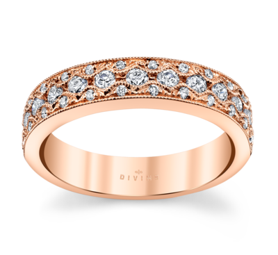 14K Rose Gold Diamond Wedding Ring 1/2 Cttw.