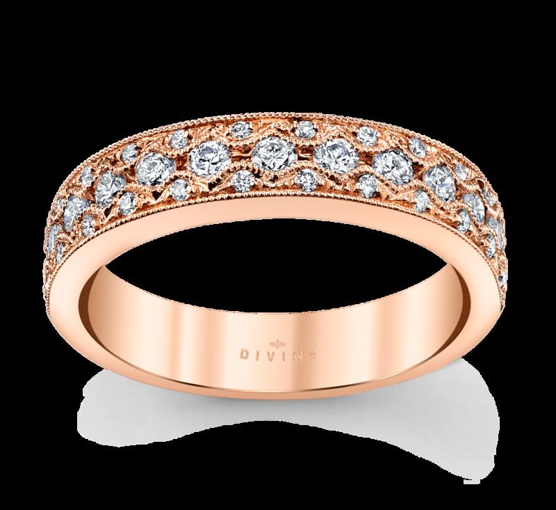 14K Rose Gold Diamond Wedding Ring 1/2 Cttw.