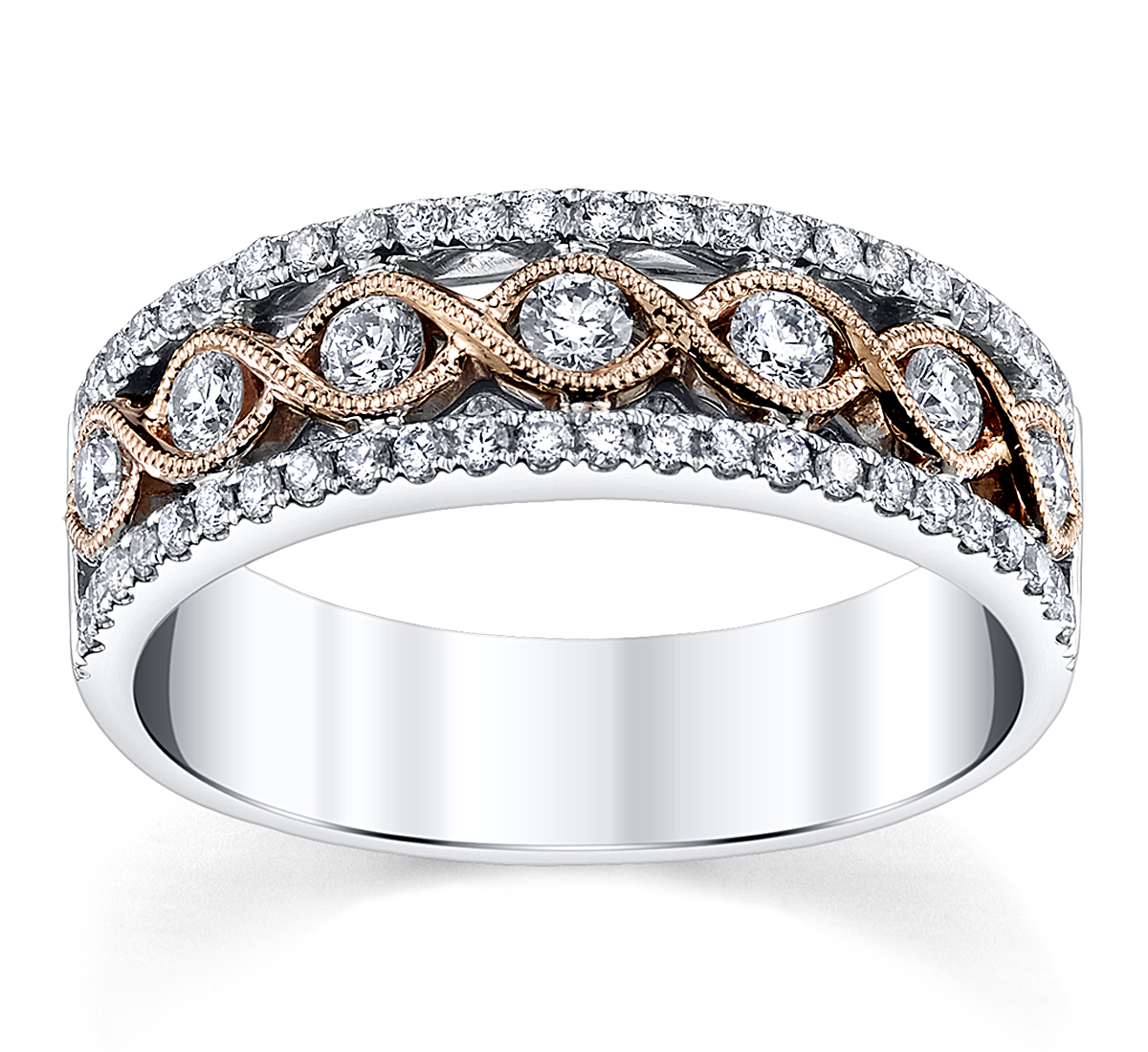 14K Two Tone 5MM Diamond Wedding Ring