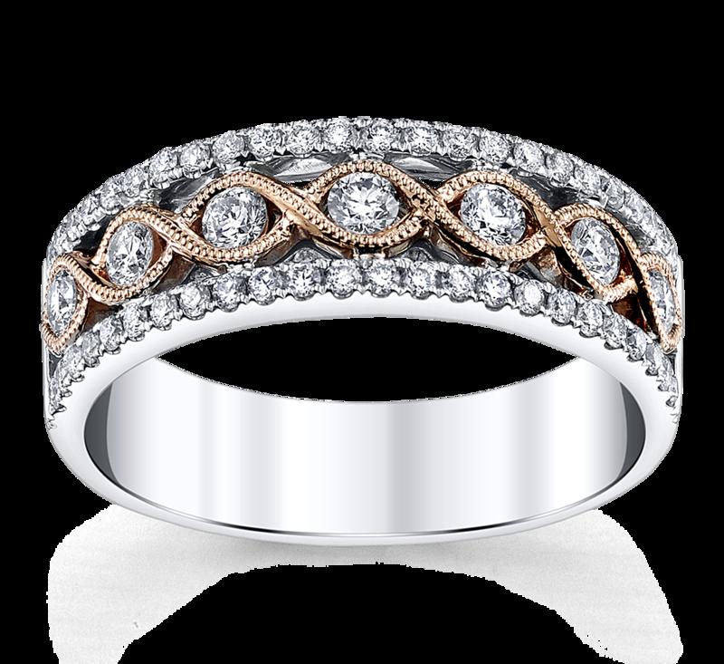 14K Two Tone 5MM Diamond Wedding Ring