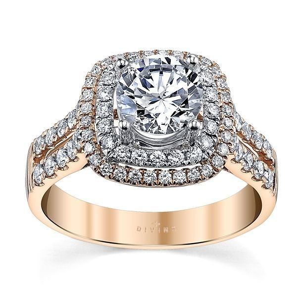 14K Two Tone Diamond Engagement Ring Setting