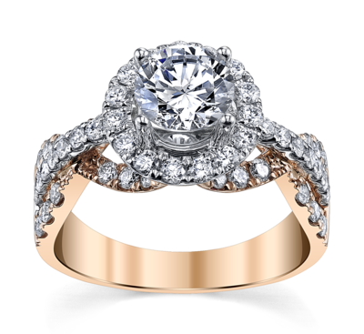 14K Two Tone Diamond Engagement Ring Setting
