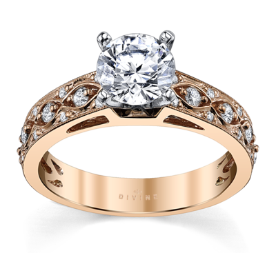 14K Two-Tone Diamond Engagement Ring Setting 1/4 Cttw.
