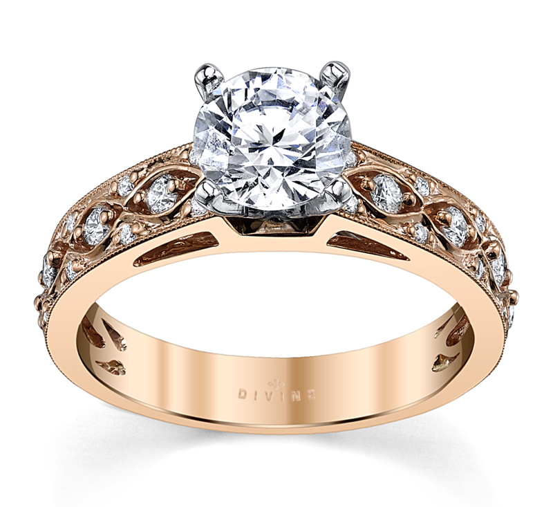 14K Two-Tone Diamond Engagement Ring Setting 1/4 Cttw.