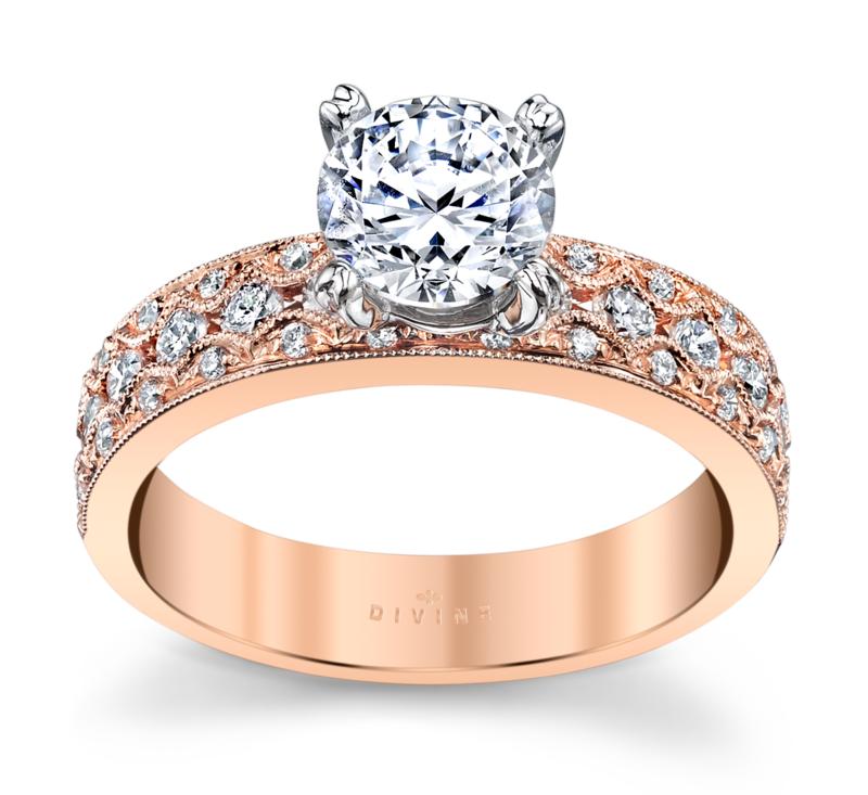 14K White And Rose Gold Engagement Ring Setting 1/2 Cttw.