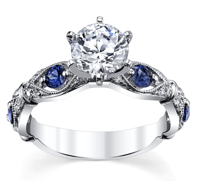 14K White Gold Blue Sapphire Diamond Engagement Ring Setting 1/10 Cttw.