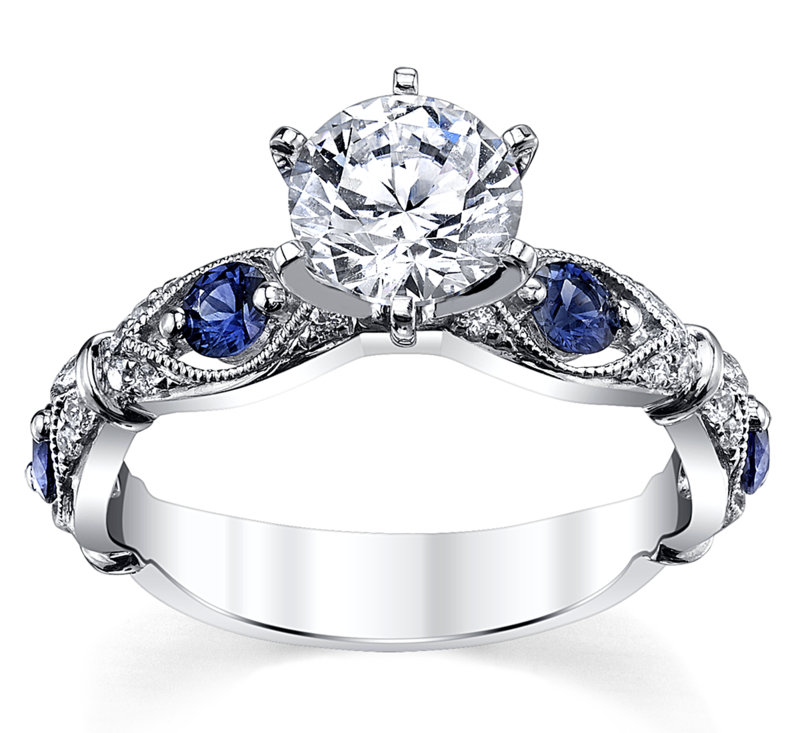 14K White Gold Blue Sapphire Diamond Engagement Ring Setting 1/10 Cttw.